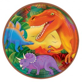 8 assiettes en cartons dinosaure Prehistoric Party