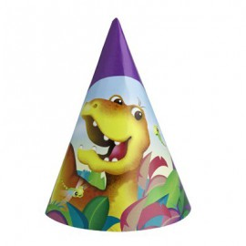 6 chapeaux de fête Dino