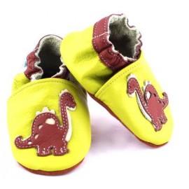 Chausson de bébé en cuir souple dinosaure