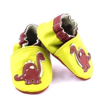 Chaussure de bébé en cuir souple dinosaure