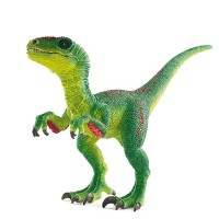 Figurine dinosaure Velociraptor vert