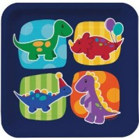 Assiettes en carton spécial anniversaire dinosaure
