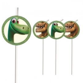 6 pailles dinosaures Thème Le Voyage d'Arlo