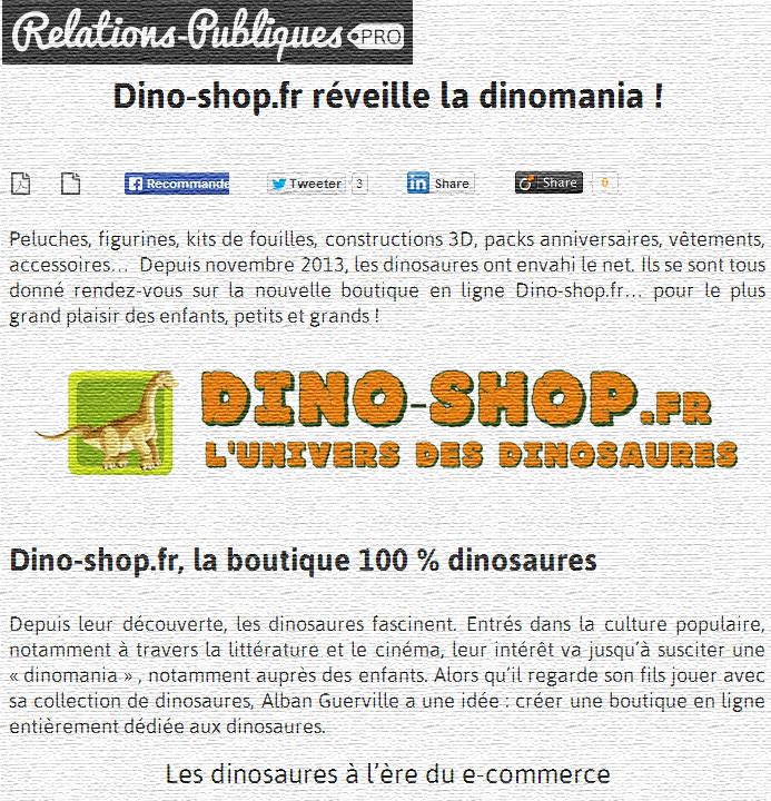 figurine dinosaure - peluche et jouet - article presse
